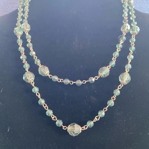 Jewelry - Necklace - Long Green and Gold, Bead and Chain.